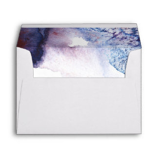 Indigo Blue and Purple Watercolors Modern Wedding Envelope
