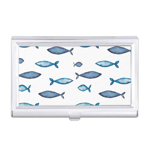 Indigo Blue and Teal Watercolor Fishes Business Card Case