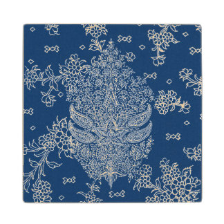 Indigo Blue and White Paisley Pattern Wooden Coaster