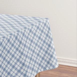 Indigo Blue And White Preppy Check Tablecloth