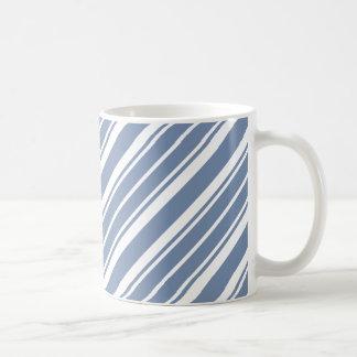 Indigo Blue and White Ticking Striped Coffee Mug