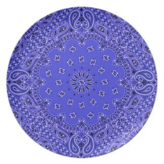 Indigo Blue BBQ Paisley Western Bandana Scarf Dinner Plate