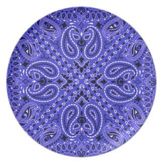 Indigo Blue BBQ Paisley Western Bandana Scarf Melamine Plate