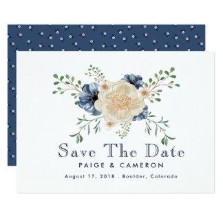 Indigo Blue & Beige Floral Wedding Save The Date Card