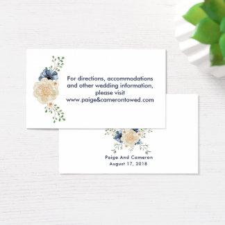 Indigo Blue & Beige Garden Floral Website Wedding Business Card