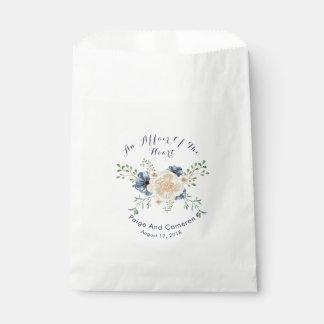 Indigo Blue & Beige Garden Floral Wedding Favor Bag