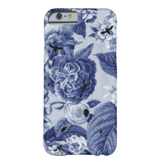 Indigo Blue Botanical & Bees Drawing Floral Toile Barely There iPhone 6 Case