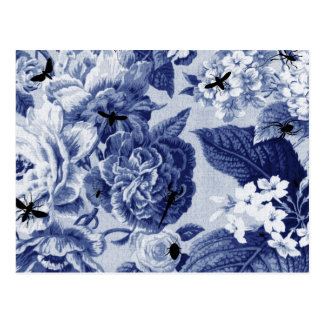 Indigo Blue Botanical & Bees Drawing Floral Toile Postcard