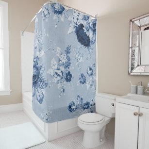 Indigo Blue Botanical Floral Toile No.4 Shower Curtain