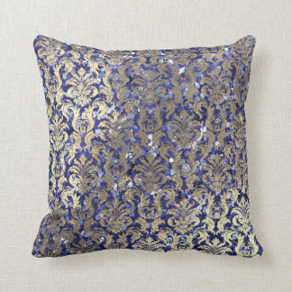 Indigo Blue Cobalt Damask Sequin Champaigne Gold Throw Pillow