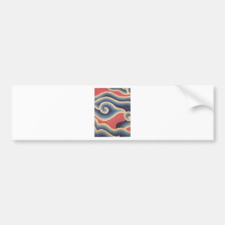 Indigo Blue Coral Japanese Wave Bumper Sticker