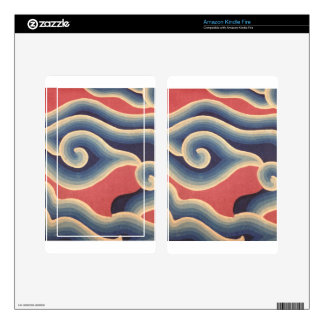 Indigo Blue Coral Japanese Wave Kindle Fire Skins