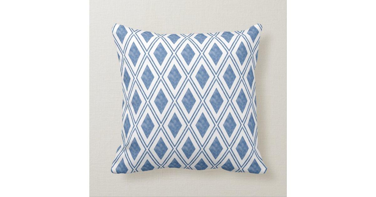 Indigo Blue Throw Pillow : Indigo Blue Diamond Pattern Throw Pillow Zazzle.com