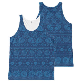 Indigo Blue Floral Faux Lace Pattern All-Over Print Tank Top