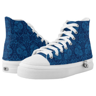 Indigo Blue Floral Faux Lace Pattern High-Top Sneakers