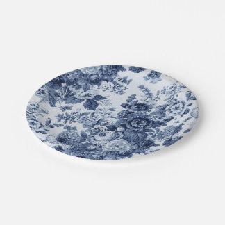 Indigo Blue Floral Toile No.3 Paper Plate