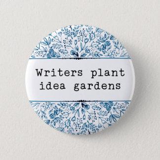 Indigo Blue Floral | Writers Plant Idea Gardens Pinback Button