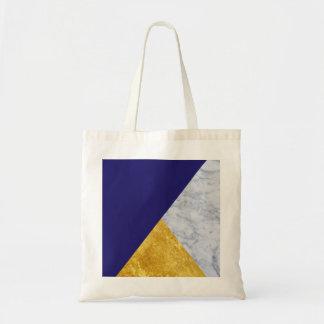 Indigo Blue Gold and Marble Basic Tote Bag