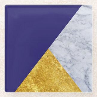 Indigo Blue Gold and Marble Glass Coaster