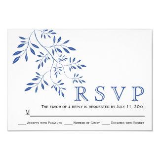 Indigo blue leaves contemporay floral wedding RSVP Card