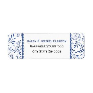 Indigo blue leaves pattern and frame wedding label