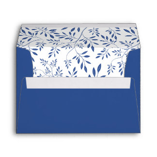 Indigo blue leaves pattern and initials wedding envelope