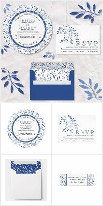 Indigo blue leaves pattern wedding invitations