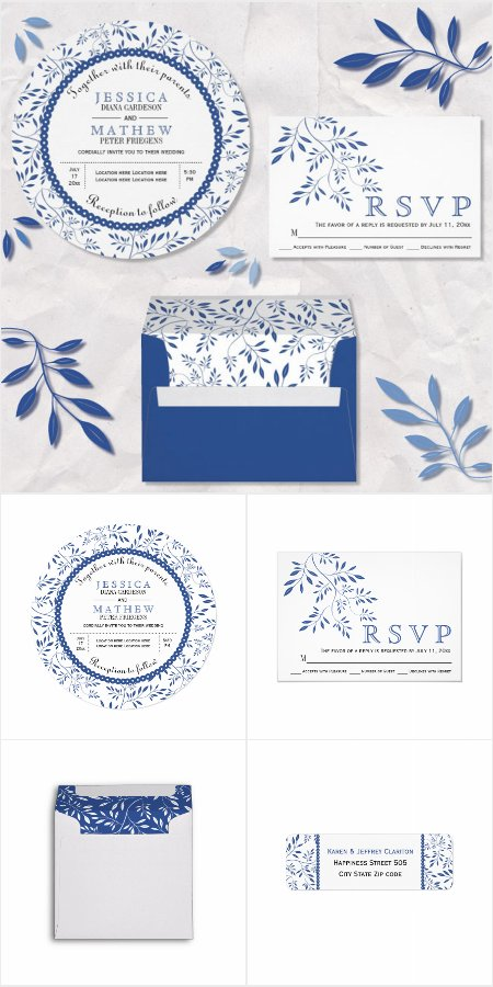 Indigo blue leaves pattern wedding invitations