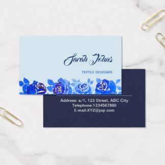 Indigo Blue Neon Rose in Midnight Business Card