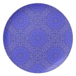Indigo Blue Paisley Western Bandana Scarf Fabric Melamine Plate