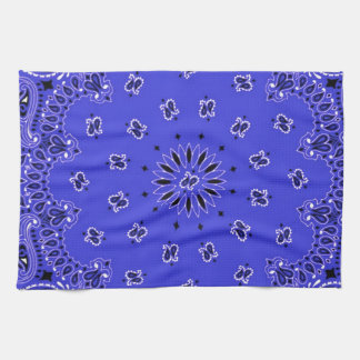 Indigo Blue Paisley Western Bandana Scarf Print Hand Towels
