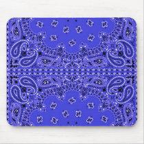 Indigo Blue Paisley Western Bandana Scarf Print Mouse Pad
