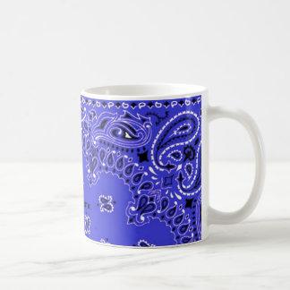 Indigo Blue Paisley Western Bandana Scarf YourName Coffee Mug