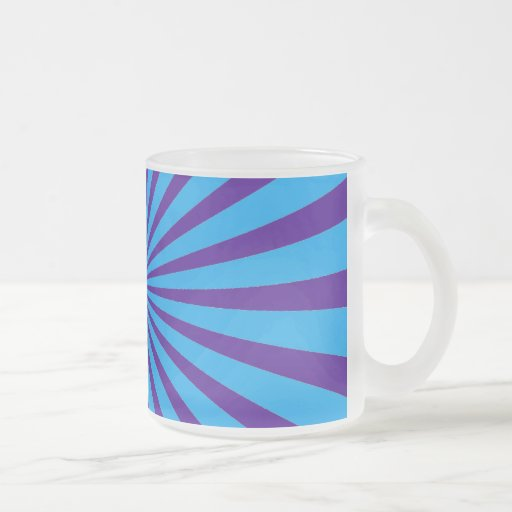 Indigo Blue Purple Starburst Sun Rays Tunnel View 10 Oz Frosted Glass Coffee Mug