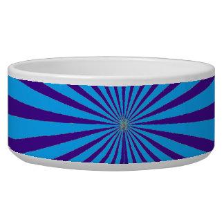 Indigo Blue Purple Starburst Sun Rays Tunnel View Dog Water Bowls