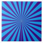 Indigo Blue Purple Starburst Sun Rays Tunnel View Tile
