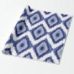 Indigo Blue Tribal Ikat Diamond White Chevron Wrapping Paper at Zazzle
