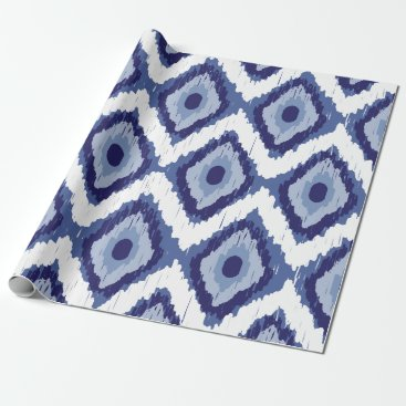 Aztec Themed Indigo Blue Tribal Ikat Diamond White Chevron Wrapping Paper