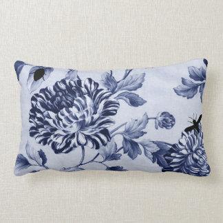Indigo Blue Vintage Botanical Bugs Floral Toile Pillow