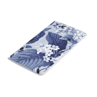 Indigo Blue Vintage Botanical Floral Toile & Bees Journal