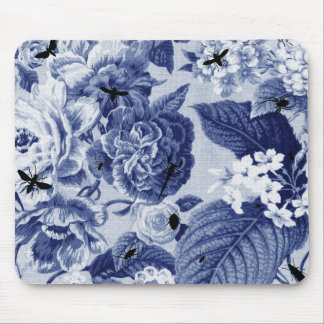 Indigo Blue Vintage Botanical Floral Toile & Bees Mouse Pad