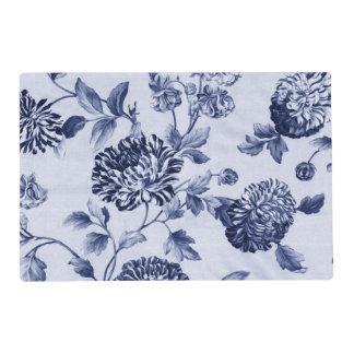 Indigo Blue Vintage Botanical Floral Toile Placemat