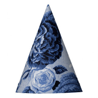 Indigo Blue Vintage Floral Toile No.1 Party Hat