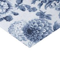 Indigo Blue Vintage Floral Toile No.3B Tissue Paper