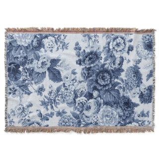 Indigo Blue Vintage Floral Toile Throw