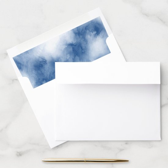 Indigo Blue Watercolor Abstract Envelope Liner