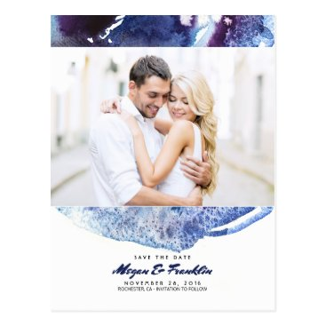 Beach Themed Indigo Blue Watercolor Crystal Photo Save the Date Postcard
