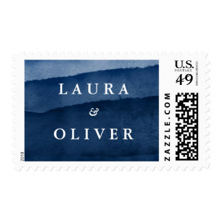 Indigo Blue Watercolor Personalized Wedding Postage