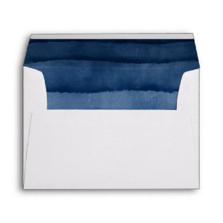 Indigo Blue Watercolor Wedding Envelope