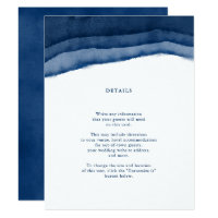 Indigo Blue Watercolor Wedding Insert / Directions Card